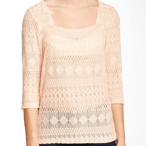 Lucky brand square neck lace tee